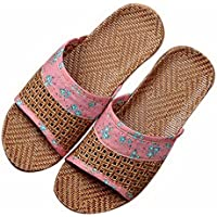 Summer Home Indoor/Outdoor Sandals Thick Bottom Linen Couple Slippers, Solid Red