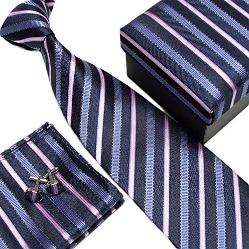 Laquest シルク 100% ネクタイ ポケットチーフ カフスボタン 3点セット