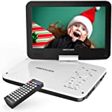 """DBPOWER 12"""" Portable DVD Player with 5-Hour Rechargeable Battery, 10"""" Swivel Display Screen, SD Card Slot and USB Port, with"""