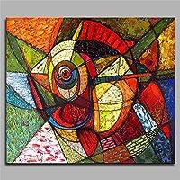 壁の装飾油絵壁画アート現代美術の手描き抽象的な魚のリビングルームのベッドルームフレームレスのハングアップする準備ができて,60×60Cm