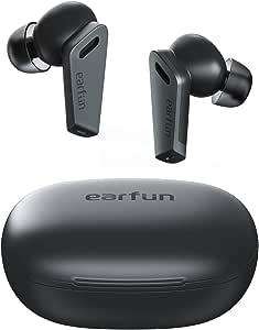 EarFun Air Pro Bluetooth 5.0 ワイヤレスイヤホン ハイブリッド式ノイズキャンセリング 重低音 10mm大口径ドライバー 外音取り込みモード タップコントロール 32時間再生 IPX5防水 USB-C充電 6マイク通話テクノロジー L/R片耳対応 自動ペアリング 【AAC対応/PSE認証済み】 ハンズフリー通話 音声アシスト機能 (ブラック)