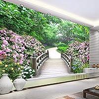 Ljjlm 3D壁の壁画部屋の風景の壁紙牧歌的な木製の橋公園の風景写真の壁紙リビングルームの装飾3D-160X120CM