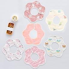 stshell 6重 綿100% よだれかけ ビブ ベビー ビブ スタイ 柔らかい 出産祝い 360°回転可 6枚入り (女の赤ちゃん)