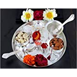 NOBILITY Silver Plated Pooja Thali Set - Classic Occasional Gift - Puja Thali for Wedding Return Gift - Size: 04 Inch