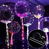 Wholehot 18インチ光るバルーン 3個入り 透明発光風船  LEDライトバー 透明な波のボール ライト 支柱付き装飾球 クリスマス/結婚式/誕生日パーティー/お祭り/記念日/バレンタイン/ktv/バーの飾りに大活躍 ロマンチックな雰囲気満点