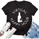 Karuina Women's Loose Round Neck Wine Bottle Wine Glass Happy Hour Letters Print Short Sleeve T-Shirt Tops