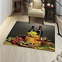 """ワインエリアラグレッドワインCabernetボトルとガラスチーズand Grapes on木製厚板印刷インドア/アウトドアエリアラグ24"""" x36""""ブラウンBurgundyクリーム 3'x4'(W 90cm x L 120cm)"""