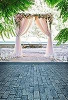5x 7ftモダンウェディング誕生日パーティー写真Seasideライトピンクカーテン花背景背景幕Photocall