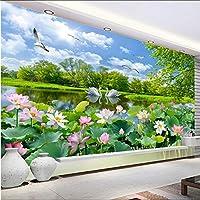 Xbwy 写真の壁紙3Dスワンレイクロータスポンド壁画リビングルームのテレビソファの背景-200X140Cm