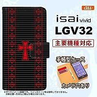 手帳型 ケース LGV32 スマホ カバー isai vivid ゴシック 黒×赤 nk-004s-lgv32-dr1010