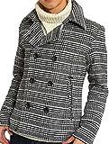 インプローブス Pコート メルトン ウール ショート コート メンズ ピーコート ホワイト グレンチェック Lサイズ