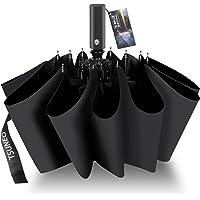 折りたたみ傘 自動開閉 頑丈な12本骨 メンズ 台風対応 梅雨対策 大きい 超撥水 おりたたみ傘 高強度グラスファイバー ビッグサイズ 晴雨兼用 収納ポーチ付き (ブラック)