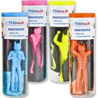 Thin Air Brands Tangle-Free Parachute with Paratrooper in Reusable Storage Tube, Multicolor (Set of 4) [並行輸入品]