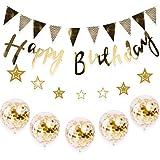 誕生日 飾り付け セット デコレーション 風船 バースデー ガーランド HAPPY BIRTHDAY きらきら風船 ゴールド