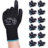 Donfri 【まとめ買い】 軽作業 12双パック 作業用手袋 薄手 黒グローブ ガーデニング 手袋 滑り止め 耐摩耗性レベル3 (S)