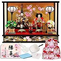 雛人形 久月 ひな人形 雛 ケース飾り 親王飾り よろこび雛 オルゴール付 C祝のしめ図 柄 h303-k-4-38-abcd