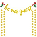 Be Our Guest Gold Sign Banner, Reception Banner for Beauty And The Beast Party Bridal Shower Favor Supplies for Wedding Engag