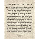 Words of Wisdom by Theodore Roosevelt - The Man in The Arena 11x14 Archival Art Card Print