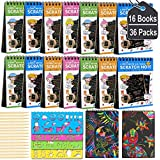 POKONBOY 16 Pack Scratch Arts and Crafts Notebooks, Scratch Note Pads for Kids Rainbow Party Favors Coloring Books for Kids A