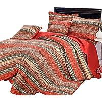 Kindness ベッドカバー 3点セット 綿100% ベッドスプレッド ケイーン キング用 上品 マルチカバー キルト おしゃれ ボヘミアン風 和式 (オレンジ, 230 * 250cm)