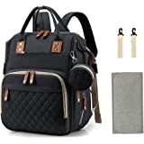 Diaper Bag Backpack, Nappy Bag with Portable Changing Pad, Pacifier Case and Stroller Straps, Large Unisex Baby Bags for Boys