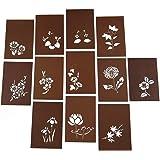 伊勢型紙 ステンシル型紙 はがき判 12種セット 渋紙 手彫り 四季の花