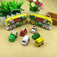 6ピースCartoon Carおもちゃ慣性プルバックCar Toy Setクリスマスハロウィンプレゼント子供と幼児のため
