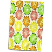 3dローズJanna Salak Designs Food and Drink–Citrus Fruit Print–レモンライムオレンジとグレープフルーツ–タオル 15x22 Hand Towel twl_77596_1