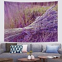 ラベンダーシリーズタペストリー壁掛け、ロマンチックな紫色の風景のベッドルームのレイアウトルームベッドサイドウォール布タペストリーギフト 0104 (Color : D, Size : 150×200cm)