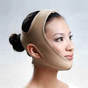MakeupAccフェイスラインベルト M/L/XLサイズ 抗シワ 額、顎下、頬リフトアップ 小顔 美顔 頬のたるみ 引き上げマスク(ベージュ)【並行輸入品】 (L)