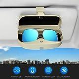 Dualshine Car Sun Visor Glasses Case Holder Clip, Eye Sunglasses Organizer Mount with Ticket Card Clip- Apply to All Car Mode