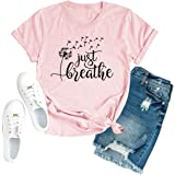 Just Breathe Shirt Women Nature Dandelion Fly Graphic Tees Cute Tees Tops Casual Summer Short Sleeve Tops