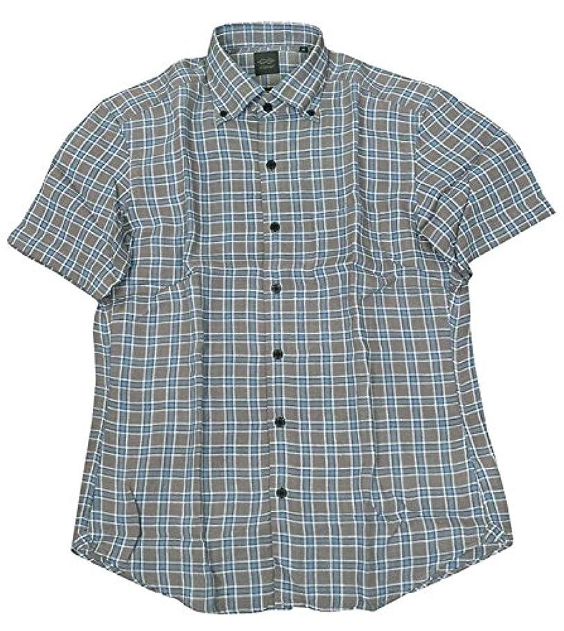 重さ美しいオーバーコート【D'URBAN】ダーバン リネン チェック BD カジュアルシャツ(半袖) グレー