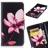 Yiizy Huawei P20 Lite ケース 手帳型 ピンクの花 カバー 本革ソフトレザー 対応 ケース カードポケット スタンド機能 マグネット式 財布型