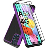 Galaxy A51 Case with Tempered Glass Screen Protector [2 Pack], Dahkoiz Armor Defender Cover Samsung Galaxy A51 Case Dual Laye