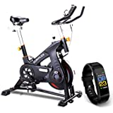 Scenic Spin Bike Flywheel Commercial Gym Exercise Home Workout Grey LCD Monitor, Phone Holder, Superior Belt Drive