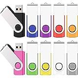 TEWENE USBメモリ 16GB 10個セット フラッシュメモリー フラッシュドライブ USBフラッシュメモリー 回転式 ストラップ付 10色ミックスカラー (16GB,10個セット)