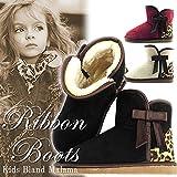 [MALAMA] キッズ ムートンブーツ 女の子 リボン レオパード バイカラー ショート ブーツ / ブラック 19.0cm