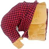 ボーイフレンドの筋肉が腕を抱き、クリエイティブな诞生日プレゼント(右の手) (赤い格子縞の服)