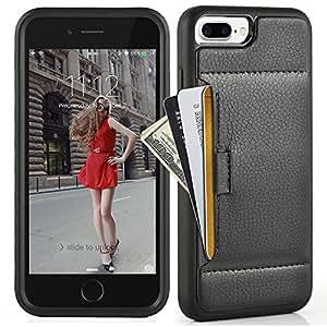 iPhone 7 Plus ケース レザーケース 耐衝撃 カード収納 落下防止 TPU × PC 2層構造 アイフォン 7 プラス 用 カバー (iPhone 7 Plus ケース 5.5 インチ(ブラック)