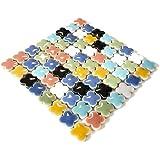 モザイクタイル 14㎜ かわいいクローバー型 セラミック(陶器) 7色 カラフル マルチカラー ミックス (日本製) ク…