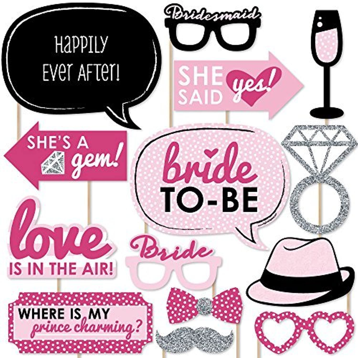 Bride-To-Be - Bachelorette Party Photo Booth Props Kit - 20 Count [並行輸入品]