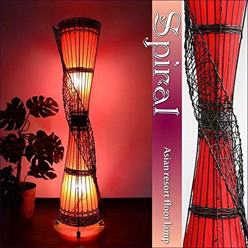 RoomClip商品情報 - MANJA LAM-0417-RE (レッド) アジアン照明 ラタン トール スパイラル フロアランプ 高さ150cm LED対応