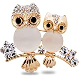 Comelyjewel Brooch Owl Shape Rhinestone Covered Crystal Beauty Brooch Pin Scarves Shawl Clip For Women Ladies