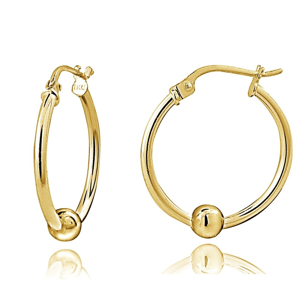 Sterling Silver Bead Round Polished Hoop Earrings