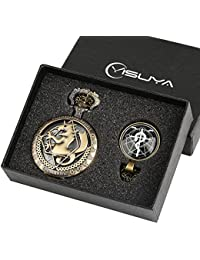 Fullmetal Alchemist Pocket Watch for Boysギフトセットfor Children中空ブロンズFob Watchesアレイof Revealing Lightドームペンダントネックレス