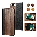 FLOVEME iPhone6ケース 手帳型  上質な天然木カバー 手作り 黒胡桃