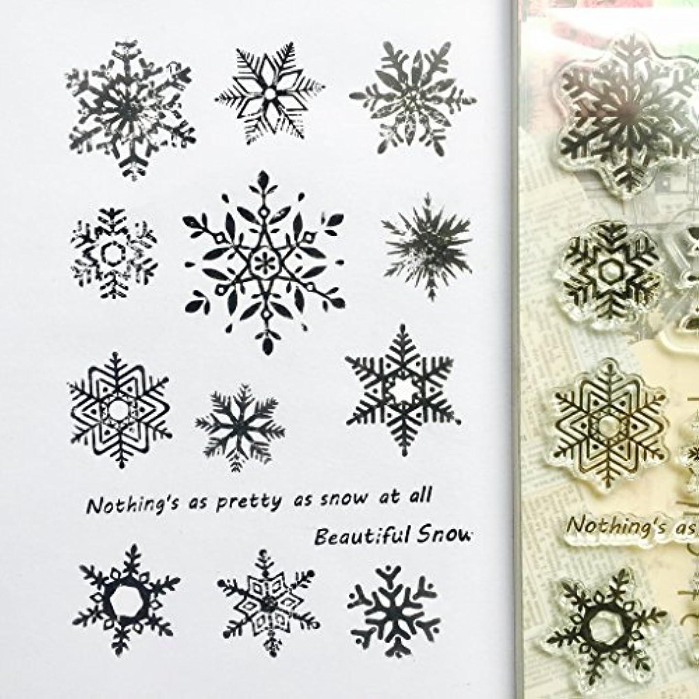 送った同意する不運Baoyouls Christmas Snowflake Patternシリコンクリアスタンプ、ラバークリアスタンプClingセットScrapbookingクラフト日記カード、DIYギフト