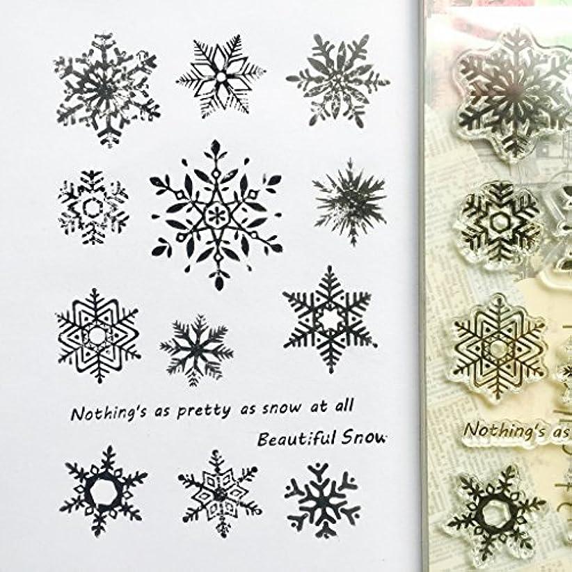 バスタブ誤解を招くオフBaoyouls Snowflake Patternシリコンクリアスタンプ、ラバークリアスタンプClingセットScrapbookingクラフト日記カード、DIYギフト