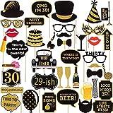 30歳の誕生日 写真ブース小道具 (34個) 彼 ゴールドとブラック 誕生日 記念品 デコレーション 汚れる 30歳の誕生日パーティー用品 メンズ レディース